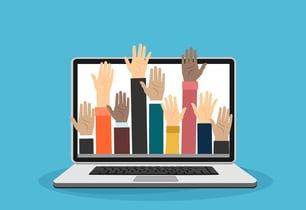 diverse set of hands raised through computer screen