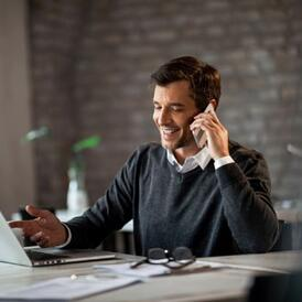 job seekers talks to staffing firm on the phone